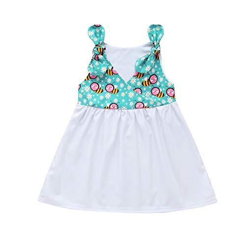Keepwin Vestido Niña, Estampado de Abeja Verano Ropa Bebe Niña Recien Nacido Lindo Lazo Plisado Vestidos Ninas Fiesta Disfraz Princesa...