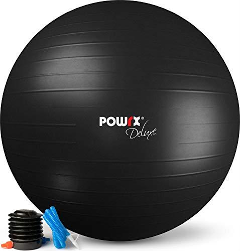 POWRX Gymnastikball Anti-Burst inkl. Pumpe   Verschiedene Größen und Farben (Dunkelgrau/65 cm)