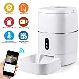 CrazyFire 6L Automatic Cat Feeder,Automatic Dog Feeder with APP Control,1080P HD Camera,Motion Sensor Alarm,Live Video and Audio Communication,Programmable Automatic Pet Feeder for Cat,Dog