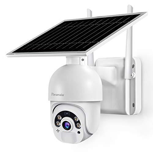 Panamalar 14400mAh Überwachungskamera mit Solarpanel, 1080P WLAN Outdoor Kamera mit H355 ° V100 ° Schwenkbar/100FT Vollfarbige Nachtsicht/PIR Bewegungserkennung/2 Wege Audio, Aussen Akku Kamera