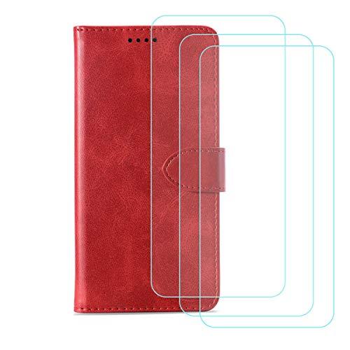 DQG Funda para Alcatel 3X 2020 (6.52'), [3 Tabletas Protector de Pantalla Vidrio Templado] + Leather Carcasa Tapa Bumper PU Caso Soporte Cartera Case Flip Cuero Wallet Cover para - Red