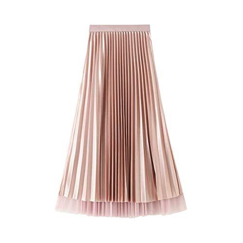 Carolilly Langer Tüllrock für Damen, Schmetterlingskleid mit hoher Taille, elastisch, lässig., Glockenform, Pink One size