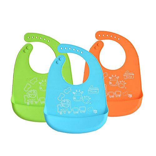 Babero Conjunto, INCHANT impermeable de silicona suave Alimentar Babero con Food Catcher bolsillo para Bibes y niños pequeños, fácilmente toallitas limpia, libre de BPA, Conjunto de 3 colores