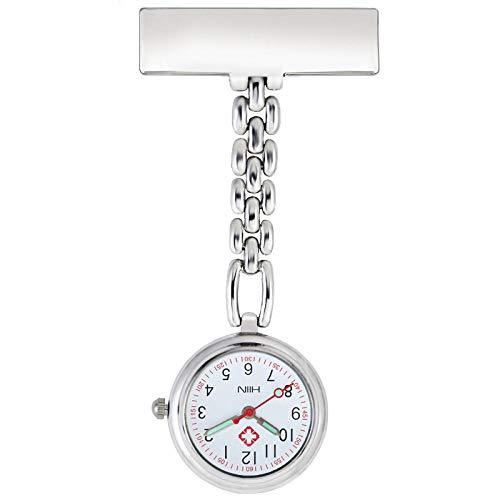 B/H Reloj de Bolsillo Enfermera Médico,Reloj de Bolsillo médico de aleación de Moda,Pin Nurse Pocket Watch-Silver,Reloj de Enfermera Resistente al Agua