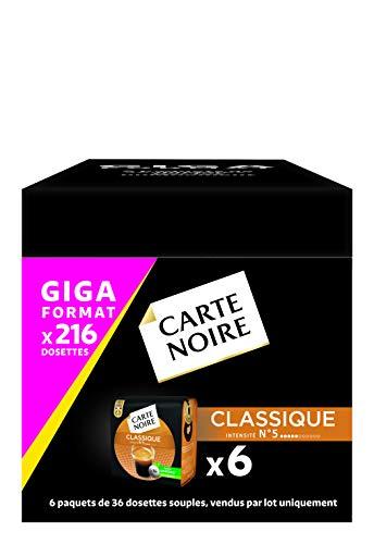 Carte Noire Café Classique N°5 - 216 dosettes (6 packs de 36) compatibles Senseo®*