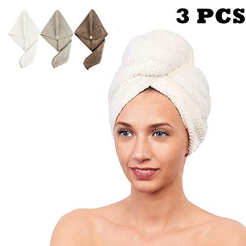 CC CAIHONG Haarhanddoek Wrap Turban Microvezel Drogen Hoofd Handdoek [3 Pack] Quick Magic Droog Haar Hoed met Knoppen, Voor Lange Korte Krullend & Recht Haar - Super Absorbend, Anti-Frizz