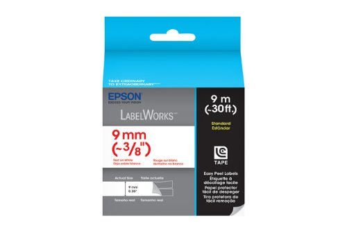 Epson LabelWorks Standard LC Tape Cartridge ~3/8-Inch Red on White (LC-3WRN9)