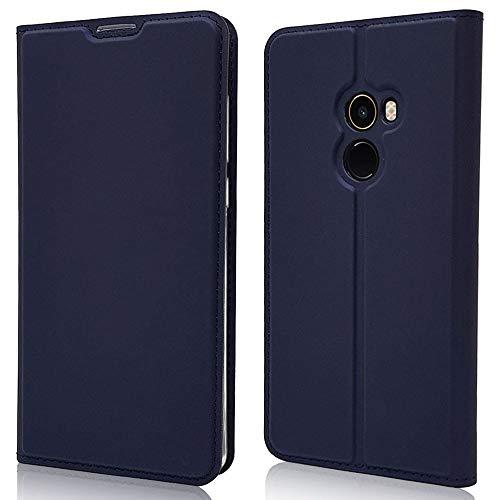 Sangrl Funda para Xiaomi Mi Mix 2, Libro Cuero de la PU Leather Case Soporte Plegable Premium Flip Case para Xiaomi Mi Mix 2 - Azul Oscuro