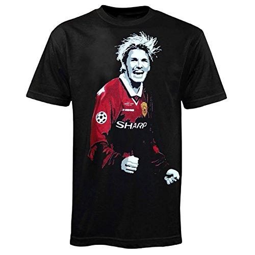 T-Shirt Fußball-Legende David Beckham bei Manchester United 1999 - Retro-Design - Schwarz - S