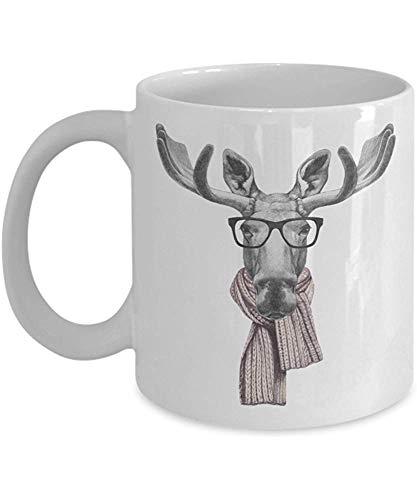 Koffie mok, Portret van Moose met Bril en Sjaal Koffie Mok, 11 Oz