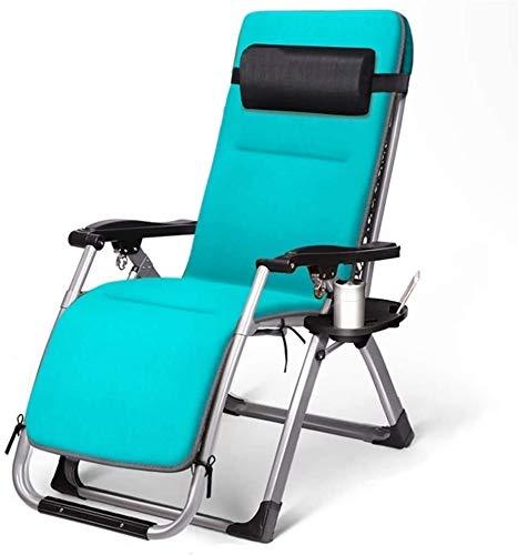 Lhak Sillón reclinable al Aire Libre Colchonetas, sillas portátiles, Cojines, Patio Interior y Exterior terraza en el jardín, sillas Plegables de Cubierta (Color : Chair+Cushion a)
