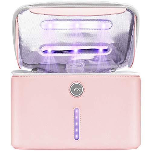 59S Bolsa desinfectante con luz UV con 12 LED UVC, XL Caja desinfectante portátil UV para teléfono Desinfectante recargable de 360 ° para viajes a casa Elimina el 99% de los virus P26