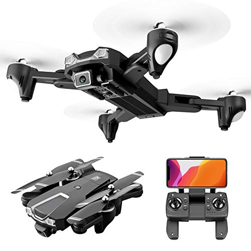 GPS Drone with 6k UHD Camera for Adults & Beginner, 5G WiFi Live Video Foldable RC Quadcopter, 1640ft Long Control Range, Follow Me, Gesture Control, LED Night Light, Dual Battery+Storage Box