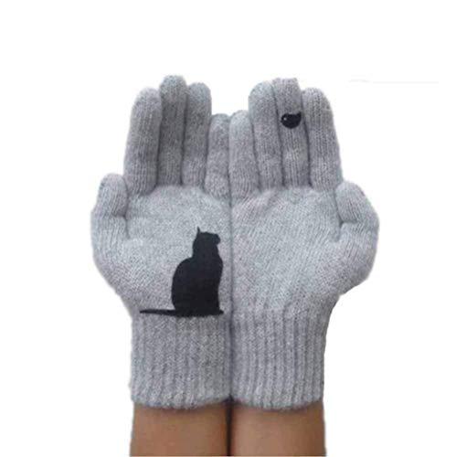 Tasty Life Handschuhe Mädchen Winter Warme Gestrickte Wolle Handschuhe Lady Cartoon Muster Katze Form Niedliche Vollfingerhandschuhe Handschuhe Zubehör Süße Frau Mädchen Geschenk(One size,Gray)