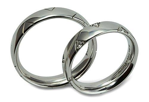 Christian Bauer Trauring Ehering Verlobungsring 585 Weißgold 14 ct poliert mit Dreiecksmuster Damenring mit Brillanten 0,220 ct Größe 54 R06-A0009