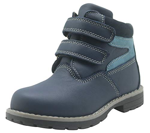 Apakowa Kids Toddler Little Boys Hook and Loop Waterproof Leather Boots (Color : Navy, Size : 9 M US Toddler)