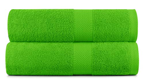 BY LORA Cotton Bath Extra Large Bath Sheet Towels, Lime, Set of 2