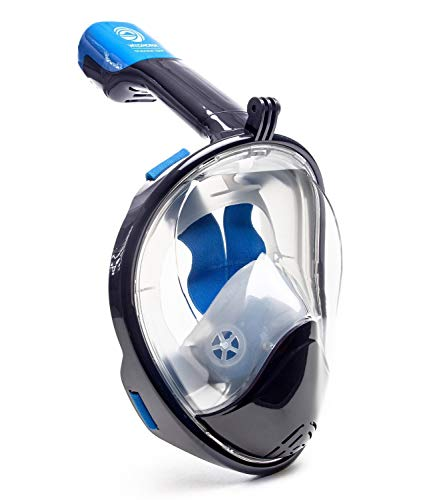 Seaview 180° GoPro Compatible Snorkel Mask- Panoramic Full Face Design. See More With Larger Viewing Area Than Traditional Masks. Prevents Gag Reflex with Tubeless Design (Navy, XS)