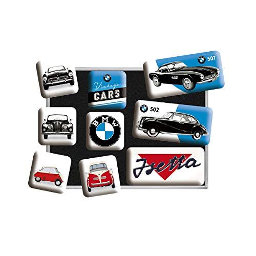 Nostalgic-Art Juego de Imanes Retro BMW Cars – Regalo para los Fans de los Coches, Decoración para la Nevera, Diseño Vintage, 9 Unidades