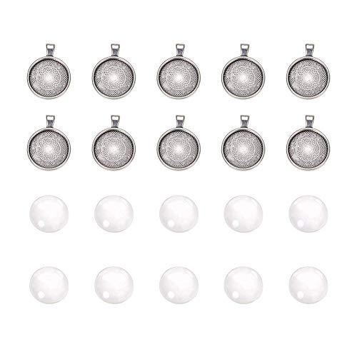 PandaHall 10 Stück Runde DIY Anfangersets Bastelset Handarbeitset Fassungen Transparent Glas Cabochons Kuppel Fliesen mit Anhänger Tabletts