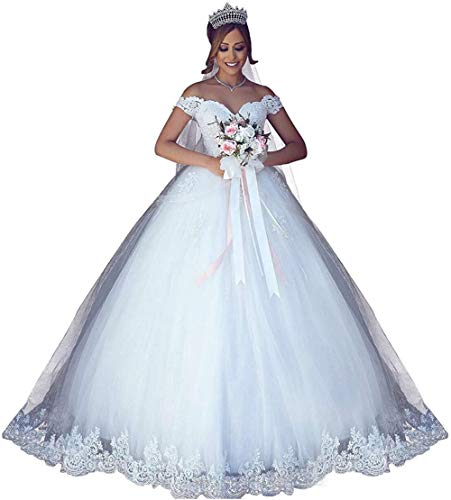 CharmingBridal Women Ball Gown Wedding Dress Off The Shoulder Lace Bridal Gowns White