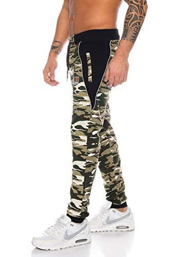 Raff&Taff - Pantalones de deporte para hombre, diseño de camuflaje verde oliva (5001). L