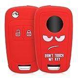 kwmobile Accessoire Clé de Voiture Compatible avec Opel Chevrolet clé de Voiture 2-Bouton - Coque de Protection Souple en Silicone - Don't Touch My Key Blanc-Rouge