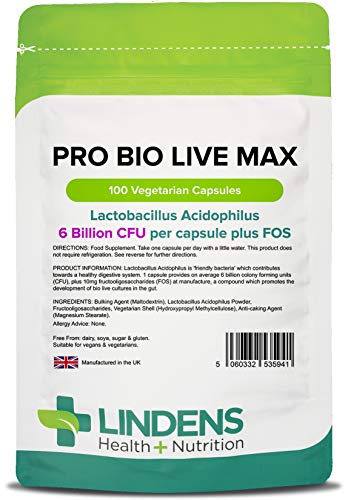 Lindens Pro Bio Live Max 6 Billion Cfu High Strength (+ Prebiotic) Capsules | 100 Pack | High Potency Lactobacillus Acidophilus Supporting Digestion