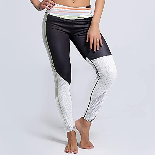 Yoga Impresión Pantalones,Mujeres 3/4 Costuras En Blanco Y Negro 3D Impresión Pantalones De Yoga De Cintura Alta, Estiramiento Rápido De La Barriga Levantamiento De Caderas Patrón Elástico Tight