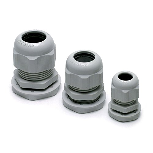 ASI 3001319 Waterproof M25 Plastic Cable Gland with Locknut, M25 Thread,10mm to 17 mm Clamping Range, Light Gray (Pack of 10)