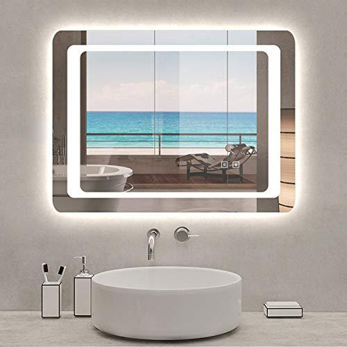 AicaSanitär LED Badspiegel 100×70 cm 6400K Kaltweiß, Touch, Anti-Beschlag Mond Serie Wandspiegel