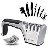 flintronic Afilador de Cuchillos, Afilador de Cuchillos Manual de 4 in 1, Base Antideslizante para Kinfe de Cocina, para Cuchillo Santoku, Cuchillo de Cocina, Tijeras (Incluye 1 Protector de Dedos)