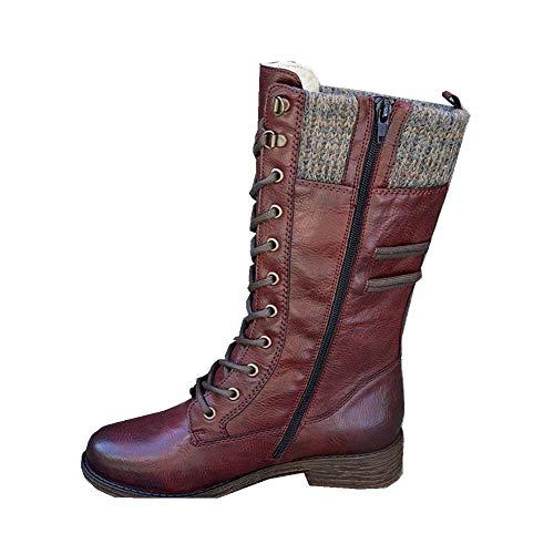 Botas de combate de tacón bajo con cordones militares para mujer, con puntera redonda, para invierno, con cordones y tacón bajo, 38_Wine_red