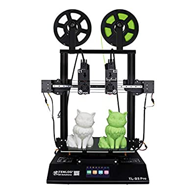 TENLOG TL-D3 Pro Independent Dual Extruder 3D Printer, 300 Degree High Temperature Nozzle,Silent Mainboards TMC2209 Drive,600W Power Supply,Support PVA TPU ABS PLA,Direct Feed,11.8''x11.8''x13.8''