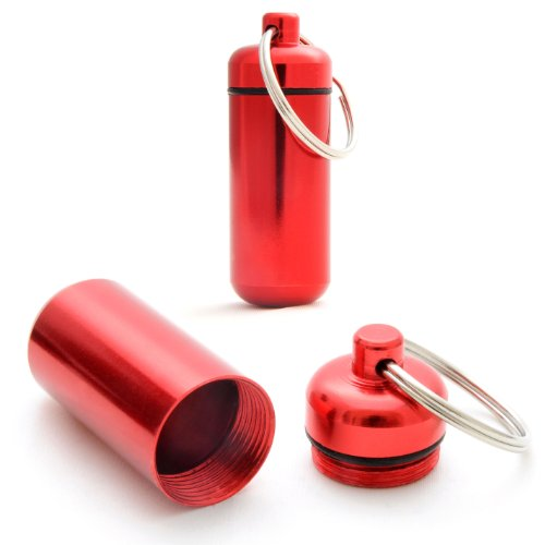 Ganzoo Pillen-Dose, Pillen-Box, 2 er Set Aluminium-Kapsel, Schlüssel-Anhänger Mini, wasserdicht, Farbe: rot, Höhe: 45mm