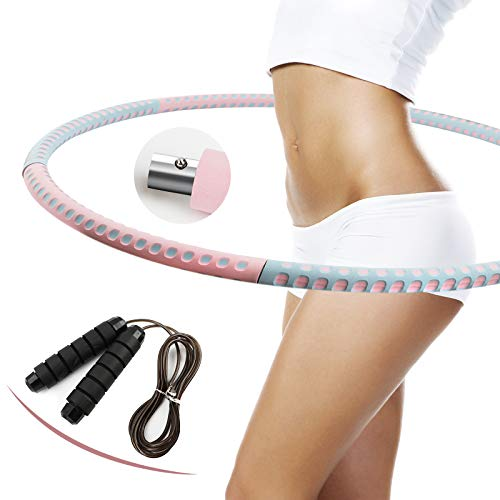 eisaro Hula Hoop Reifen Fitness, Abnehmbarer Hoola Hup Reifen mit Springseil aus Edelstahlmaterial mit Schaumstoff Massage Hulahupreifen für Erwachsene und Jugendliche Pink Blau
