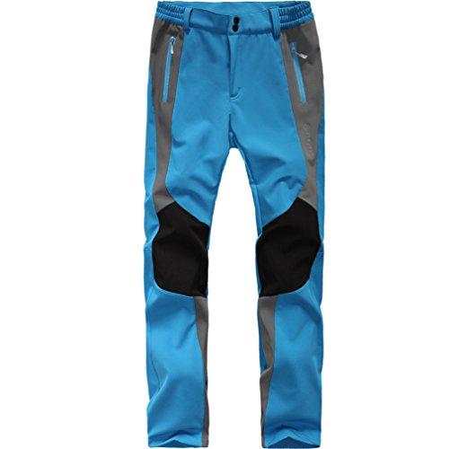 emansmoer Femme Coupe Doublé Polaire Pantalon Softshell Imperméable Outdoor Sport Pantalons de Camping randonnée (Medium, Bleu)