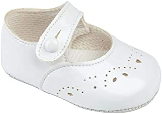 Earlydays Baypods Baby Girls Baypods First Pram Shoes –Button Fastening with Hole & Petal Punch Detail