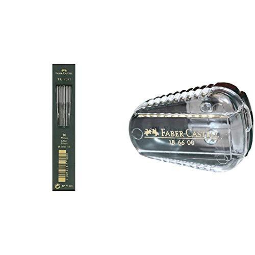 Faber-Castell 127100 TK 9071 - Lote de 10 minas de 2 mm, dureza HB + 186600 - Sacapuntas para cabezas de 2 mm