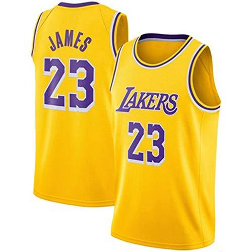 TINKOU Herren Basketball Trikots, 23 NBA Lakers Retro Basketball Uniformen Outdoor Sport Mode Casual Weste Ärmellose T-Shirts,Gelb,L