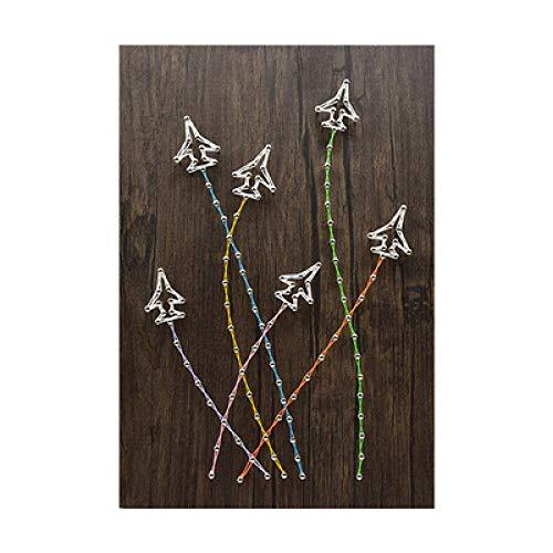 DIY handmatig wikkelen vliegtuigen driedimensionale garen schilderij nagel string draad schilderij kronkelende decoratieve schilderij 30 * 40cm