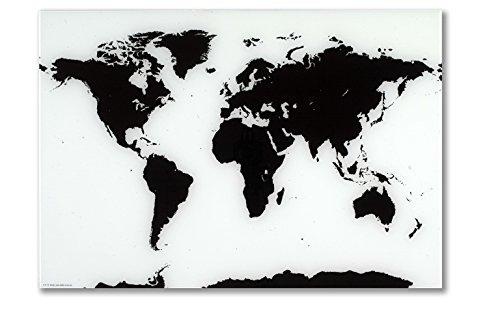 NAGA, magnetisch glazen bord, opgerolde wereldkaart, 80 x 55 cm