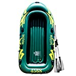 Yocalo inflatable boat series,raft inflatable kayak, fishing boat kayak,2,3,4 person boat with aluminum oars, cushion… 7 ❀ dimension: length 106. 3', width 55. 1 ' and height 17. 7',weight 22lb,age grading:6+ ❀ safety & environmental protection--constructed with super durable 0. 6mm pvc environment-friendly materials, the boat is comfortable and durable. ❀ 4 independent air chambers with valves; boston valve, motor mount fittings buckle. Included cushion, rope,aluminum oars,repair patch and hand pump.
