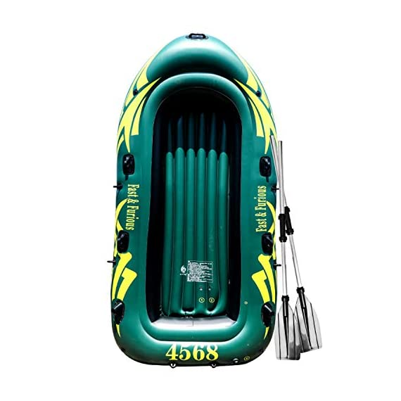 Yocalo inflatable boat series,raft inflatable kayak, fishing boat kayak,2,3,4 person boat with aluminum oars, cushion… 1 ❀ dimension: length 106. 3', width 55. 1 ' and height 17. 7',weight 22lb,age grading:6+ ❀ safety & environmental protection--constructed with super durable 0. 6mm pvc environment-friendly materials, the boat is comfortable and durable. ❀ 4 independent air chambers with valves; boston valve, motor mount fittings buckle. Included cushion, rope,aluminum oars,repair patch and hand pump.