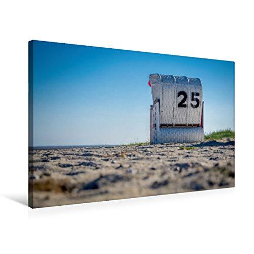 CALVENDO Premium Textil-Leinwand 75 cm x 50 cm quer, Strandkorb in Hooksiel im Landkreis Friesland   Wandbild, Bild auf Keilrahmen, Fertigbild auf echter Gemeinde Wangerland Orte Orte