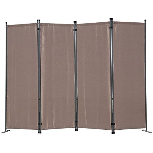 Angel Living Paravent 4tlg Sichtschutz,Faltbildschirm Raumteiler Sichtschutz aus Stahl und Polyester (Braun)