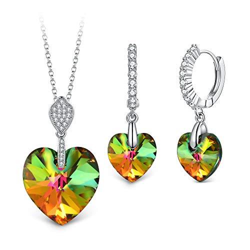 T400 Jewelers Mi Destino Collar con Colgante de corazón y Pendientes de leverback Cristales Conjuntos de joyería de Moda para Mujer,45+5cm