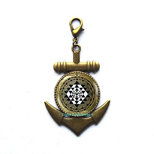 Sri Yantra - Tirador de cremallera con ancla y geometría sagrada para yoga, joyería de yoga espiritual, mandala, ancla budista, tirador de cremallera, tirador tibetano Sri Yantra para hombre