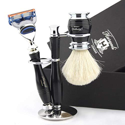 3-delige set traditionele nat scheermes met compatibel Gillette Fusion scheermes & zuiver wit dakscheerpenseel compleet met dubbele standaard – cadeauset voor elke scheerliefhebber
