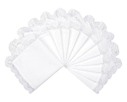 Milesky Damen Taschentücher Hochzeit Weiß mit Spitze 12 Stück, ca. 26 x 26cm